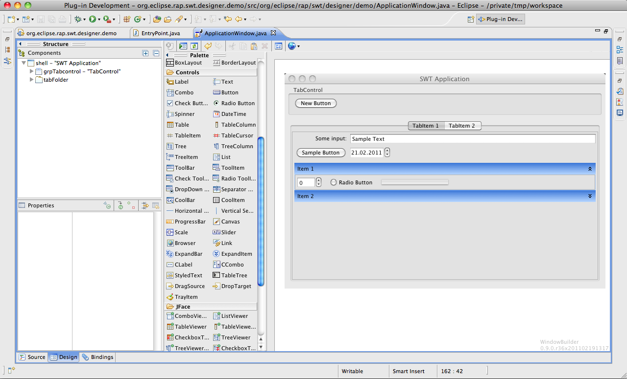 Eclipse Visual Editor - Browse Files at