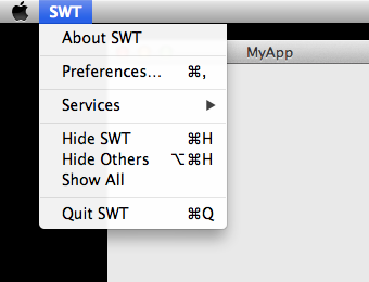 Configuring the OS-X application menu for SWT apps