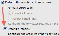 Organize imports on save