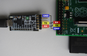 Connection between FTDI PCB and the UART pins of the Raspberry Pi