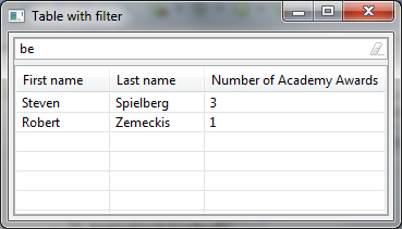 Filtering tables in SWT/JFace