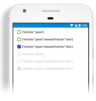 Tint colors for CheckBox, RadioButton, ActivityIndicator created with Tabris_2_1 and shown on Android Phone
