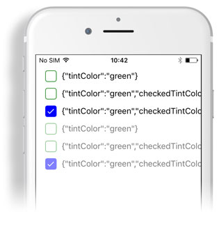 Tint colors for CheckBox, RadioButton, ActivityIndicator created with Tabris_2_1 and shown on iPhone